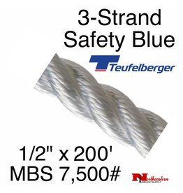 "Teufelberger 3-Strand Safety Blue 1/2"" x 200' by New England"