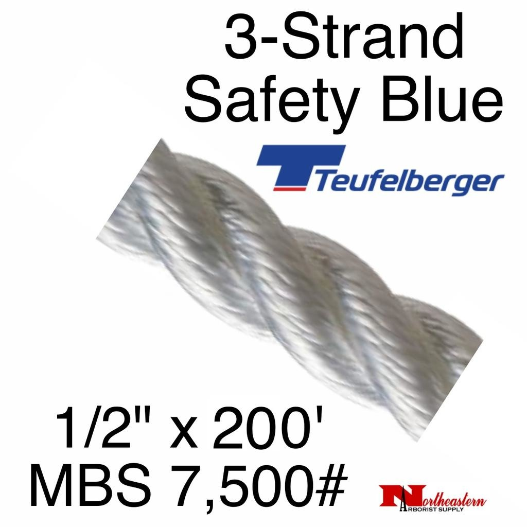 """Teufelberger 3-Strand Safety Blue 1/2"""" x 200' by New England"""