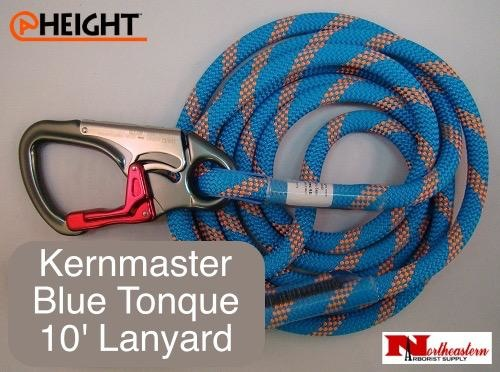 @ HEIGHT Kernmaster 10' Blue Tongue Positioning Lanyard with SH901 with Sewn Eye