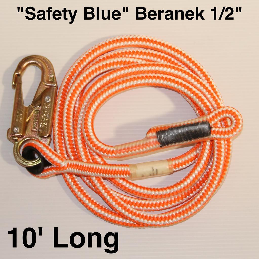 "Teufelberger Ascender Lanyard Hi-Vee ""Safety Blue"" Beranek 1/2"" x 10'"