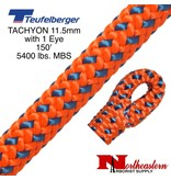 "Teufelberger Tachyon 11.5mm x 150' 1"" Eye one end, orange/blue 5400 lbs. MBS"