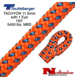 "Teufelberger Tachyon 11.5mm x 150' 1"" Eye one end, orange/blue 5400 lbs. MBS"
