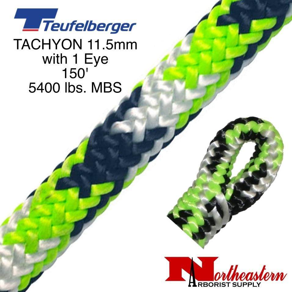 "Teufelberger Tachyon 11.5mm x 150' 1"" Eye one end, green/black/white 5400 lbs. MBS"