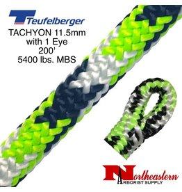 """Teufelberger Tachyon 11.5mm x 200' 1"""" Eye one end, green/black/white 5400 lbs. MBS"""