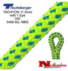 """Teufelberger Tachyon 11.5mm x 150' 1"""" Eye one end, green/blue 5400 lbs. MBS"""