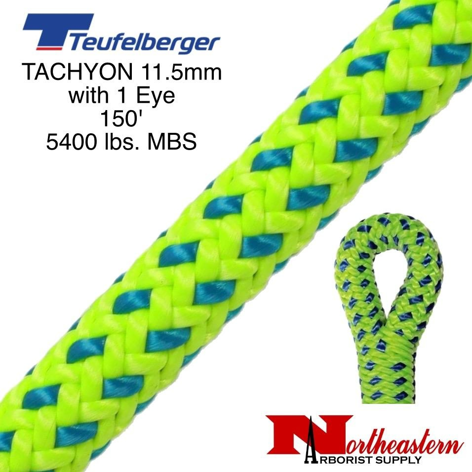 "Teufelberger Tachyon 11.5mm x 150' 1"" Eye one end, green/blue 5400 lbs. MBS"
