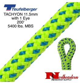 "Teufelberger Tachyon 11.5mm x 200' 1"" Eye one end, green/blue 5400 lbs. MBS"