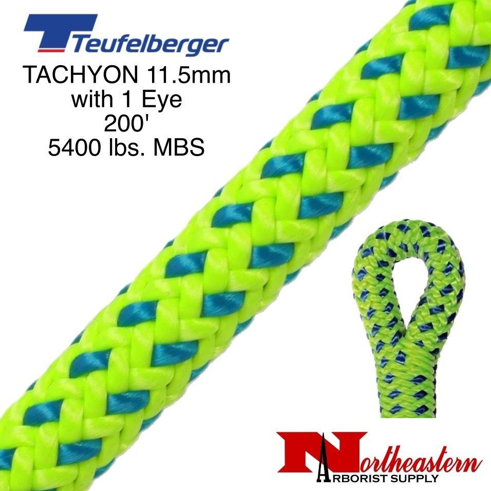 """Teufelberger Tachyon 11.5mm x 200' 1"""" Eye one end, green/blue 5400 lbs. MBS"""