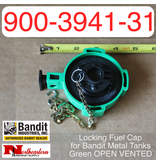 Bandit® Parts Locking Fuel Cap for Bandit Metal Tanks, Green OPEN VENTED 900-3941-31