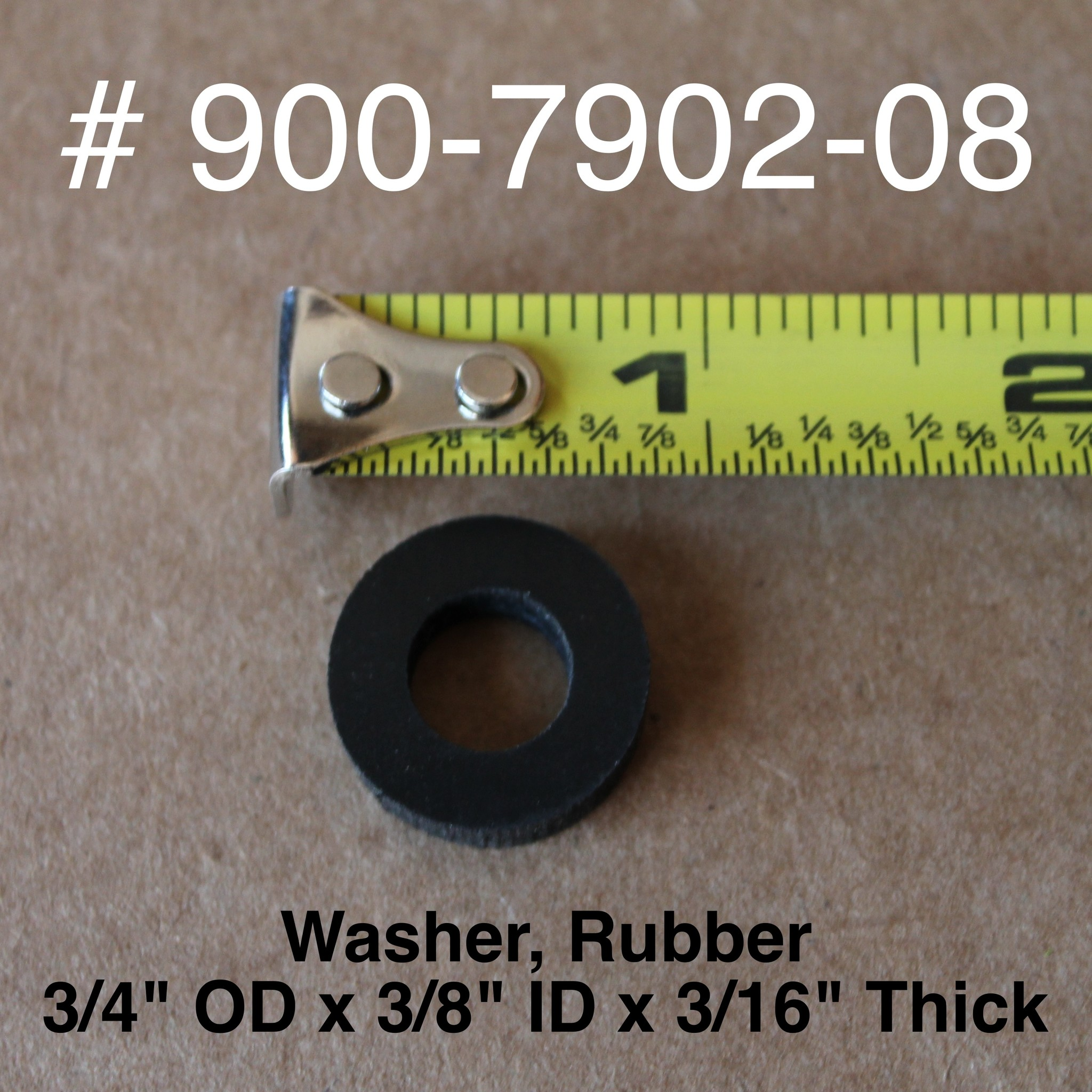 """Bandit® Parts RUBBER WASHER FOR LEXAN COVER, 3/4"""" OD x 3/8"""" ID x 3/16"""" Thick, 900-7902-08"""