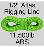 "Sterling 1/2"" Atlas Rigging Line Neon Green 11,500lbs ABS"