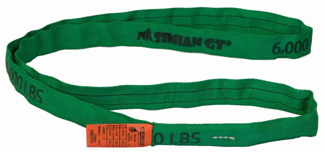 Stren-Flex® SIMIAN™ GT Roundslings GREEN - V 6000, C 4800, B 12K LBS