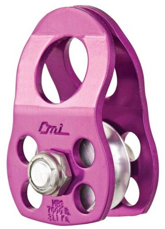 "CMI Pulley Micro 1/2"" Purple Anodized Aluminum Sideplates, 1+1/4"" Black Plastic Sheave,Bushing, and Aluminum Axle 7,000# MBS"