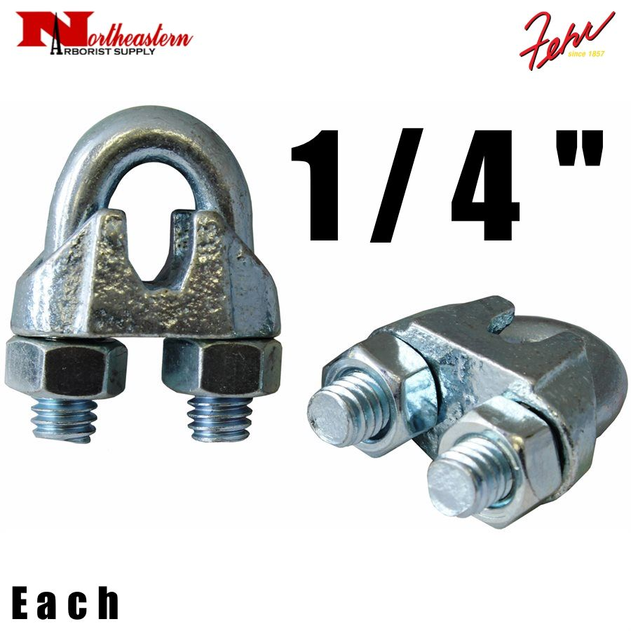 """Fehr Bros. Zinc Plated Malleable Wire Rope Clip 1/4"""""""