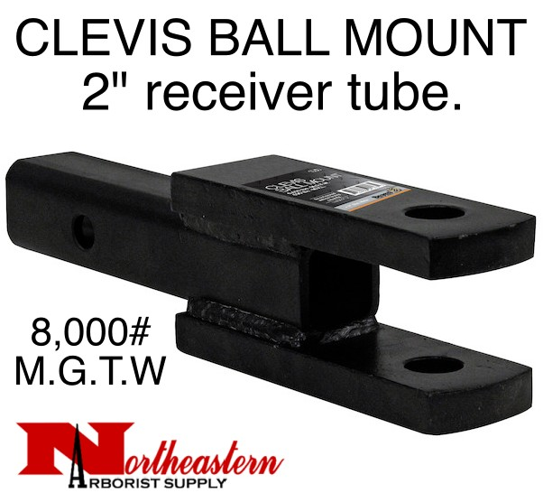 """Buyers CLEVIS/BALL MOUNT, 2"""" receiver, 1"""" Holes, 8,000# M.G.T.W."""