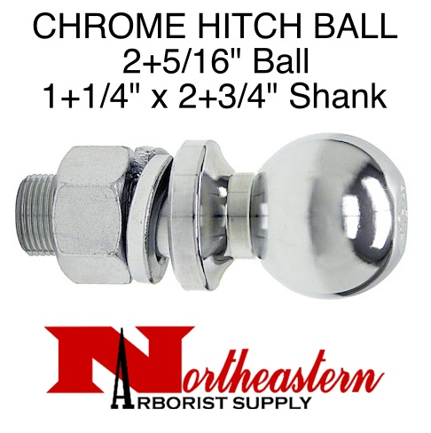 "Towing Hitch Ball, Chrome 2+5/16"" Ball x 1+1/4"" Shank"