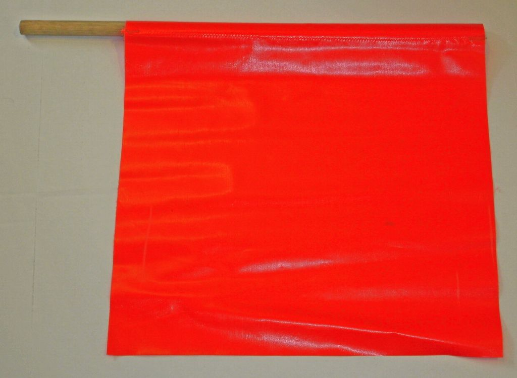 """USA-SIGN® Traffic Flag - 18"""" x 18"""" with 24"""" Wooden Staff"""
