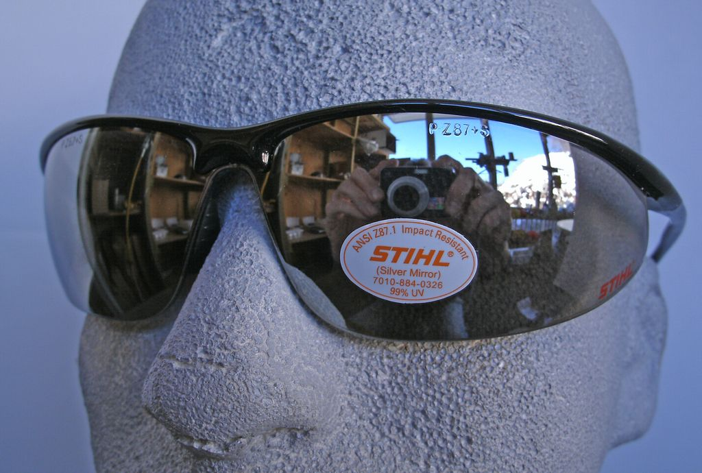 STIHL® Sleek Line Safety Glasses with Mirror Lens.  Premium protective glasses are made from optical grade polycarbonate for greater impact resistance. Offer 99.9% UV protection. Sleek and lightweight. Separate nylon nose piece offers greater comfort and s
