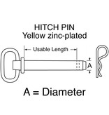 "Buyers HITCH PIN Yellow zinc-plated 1/2"" x 4+1/2"""