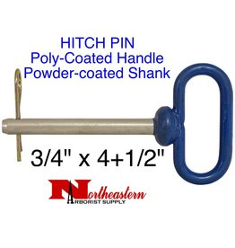"Buyers HITCH PIN, Poly-Coated Handle, powder-coated steel shank, 3/4"" x 4+1/2"""