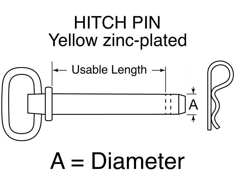 "Buyers HITCH PIN Yellow zinc-plated 5/8"" x 4+1/4"""