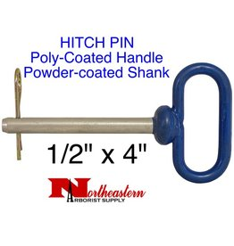 "Buyers HITCH PIN, Poly-Coated Handle, powder-coated steel shank, 1/2"" x 4"""
