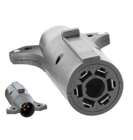 Buyers TRAILER PLUG ADAPTER, 7-Pin Flat to 6-Pin Round Adapter, Plastic (center pin auxiliary power)