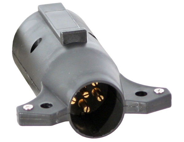 Buyers 7-Pin Flat to 6-Pin Round Adapter, Plastic (center pin auxiliary power)