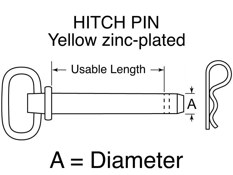 "Buyers HITCH PIN Yellow zinc-plated 3/4"" x 6+1/4"""