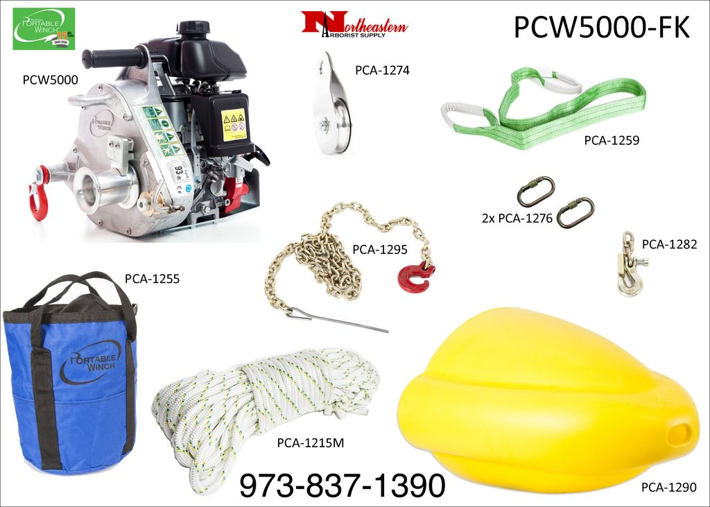 PORTABLE WINCH CO. Forestry Kit with PCW500 Portable Capstan Winch with 2 hooks & 1 anchor sling, Rope, Bag, Block, Carabiner, Hook, Cone & Chain