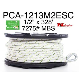 "PORTABLE WINCH CO. Rope 1/2"" x 328' with 2 eyes & thimbles (7275# MBS)"