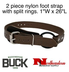 "Buckingham Climber, Two piece nylon foot strap with split rings. 1""W x 26""L"