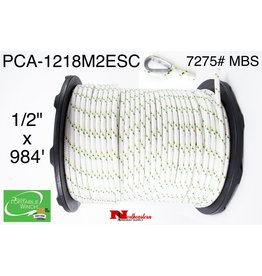 """PORTABLE WINCH CO. Rope for winch 1/2"""" x 984' with 2 eye Splices & Thimbles (7275# MBS)"""