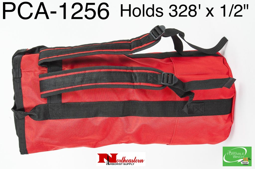 """PORTABLE WINCH CO. Rope Bag  with Shoulder Straps, Medium Red for 328' X 1/2"""" Rope"""