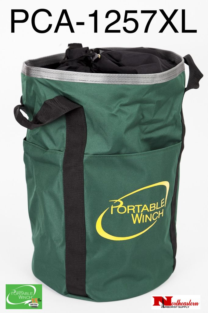"""PORTABLE WINCH CO. Rope Bag Large Green will Hold 650' of 1/2"""" Rope"""