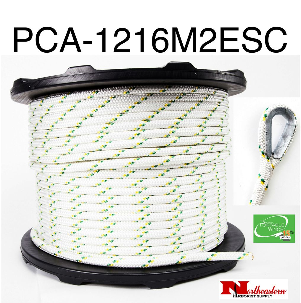 PORTABLE WINCH CO. Rope for winch - 12mm x 200 Meters with 2 eye Splices & Thimbles