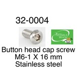 PORTABLE WINCH CO. Button Head Cap Screw, M6-1 x 16mm Stainless Steel