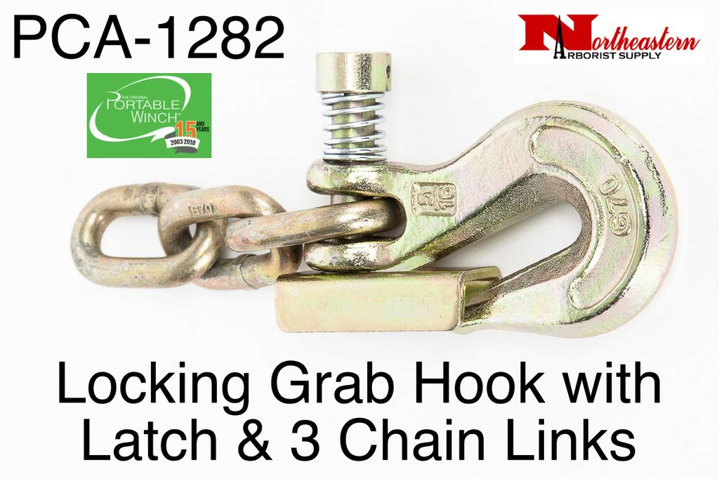 """PORTABLE WINCH CO. Grab Hook 5/16"""" with Latch & 3 Chain Links"""