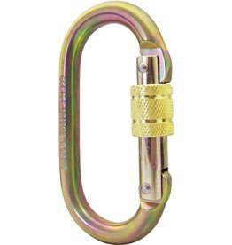 PORTABLE WINCH CO. Carabiner, Steel Oval Screw Gate Locking 25 kN MBS