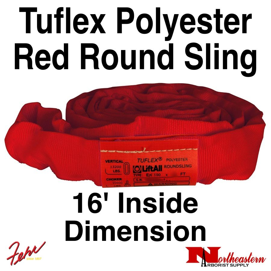 Lift-All® Tuflex Roundsling, 16 FT RED Polyester