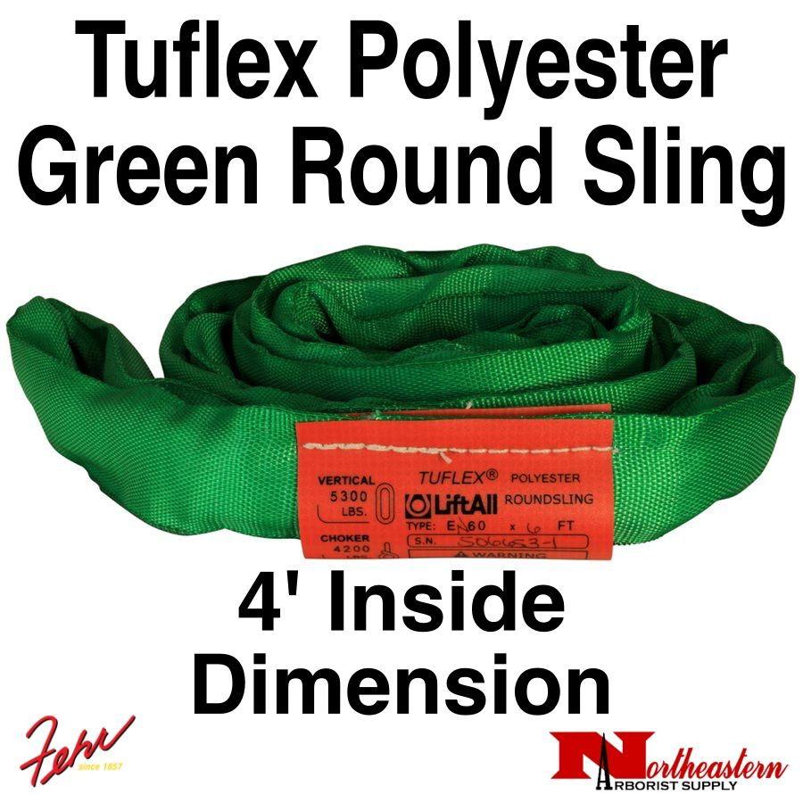 Lift-All® Tuflex Roundsling, 4 FT Green Polyester