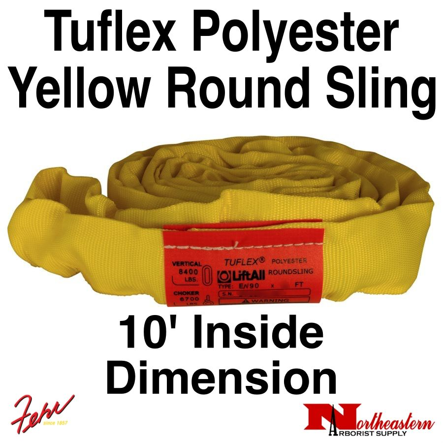 Lift-All® Tuflex Roundsling, 10 FT Yellow Polyester