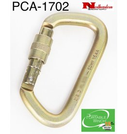PORTABLE WINCH CO. Carabiner, Steel Screw Gate Locking 50 kN MBS