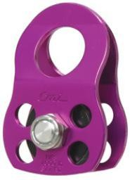 """CMI Standard model. Purple Anodized Aluminum sideplates, 1+1/4"""" Nylon sheave, Bushing, and Stainless Steel axle. 7000# MBS"""