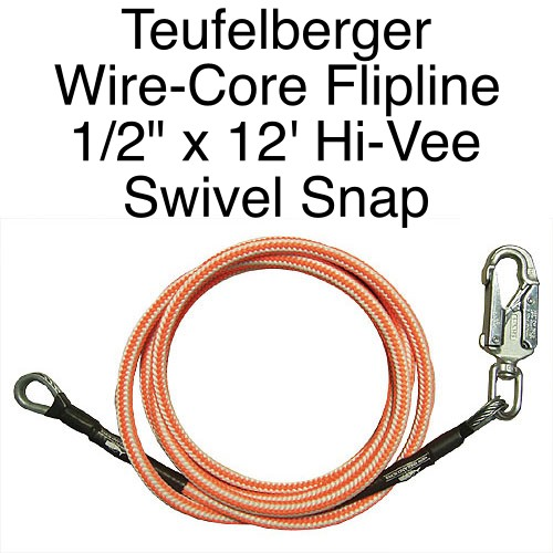 "Teufelberger Flipline Hi-Vee 1/2"" x 12'  with SWIVEL SNAP"