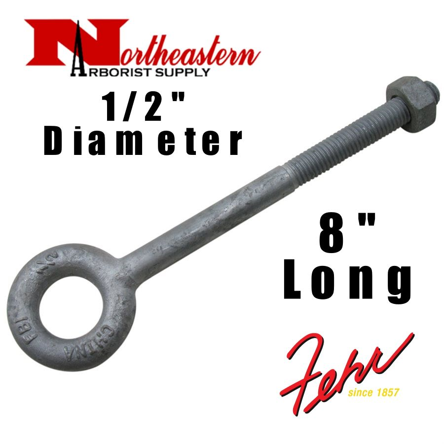 "Fehr Bros. Eye Bolt 1/2"" x  8"" Drop Forged Galvanized  Working Load Limit 2,600#"