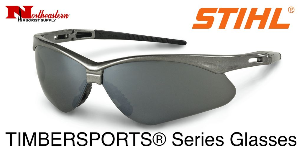 STIHL® Timbersports Safety Glasses.  Premium protective glasses are made from optical grade polycarbonate for greater impact resistance. Offer 99.9% UV protection. Sleek and lightweight. Separate nylon nose piece offers greater comfort and snug, non-slip f