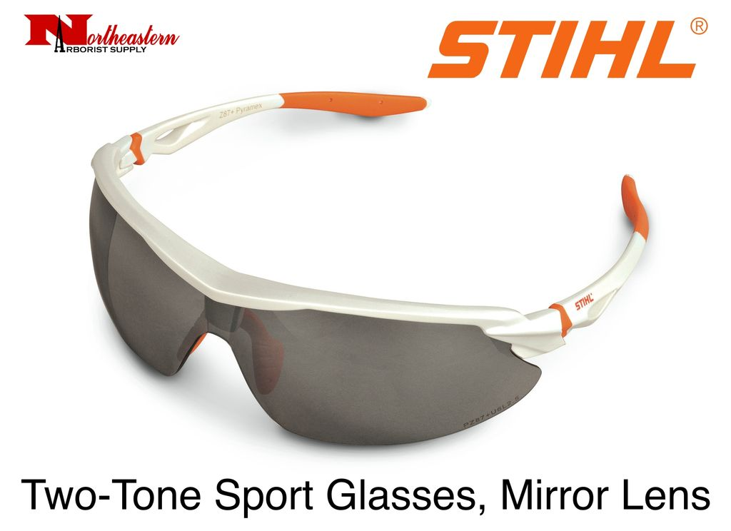 STIHL® STIHL Two-Tone Sport Protective Glasses offer wrap-around protection in a sleek orange and white frame. They meet the ANSI Z87.1 standard and are available in two lens color options: Silver Mirror and Smoke. These protective glasses block out 99% of harmf
