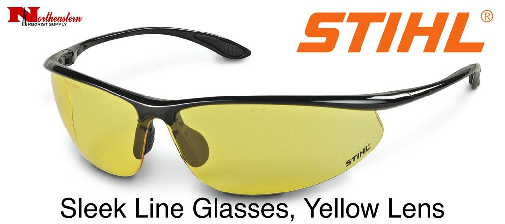 STIHL® Stihl Sleek Line Safety Glasses with Yellow Lens.  Premium protective glasses are made from optical grade polycarbonate for greater impact resistance. Offer 99.9% UV protection. Sleek and lightweight. Separate nylon nose piece offers greater comfort and s