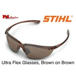 STIHL® Stihl Ultraflex Safety Glasses with Brown Lens.  Premium protective glasses are made from optical grade polycarbonate for greater impact resistance. Offer 99.9% UV protection. Sleek and lightweight. Separate nylon nose piece offers greater comfort and snu